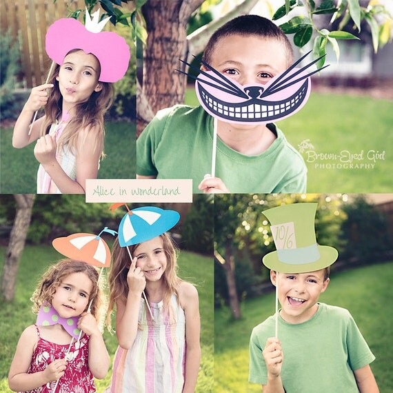 RESERVED Alice In Wonderland Party Colorful Photo Booth Props- Centerpieces