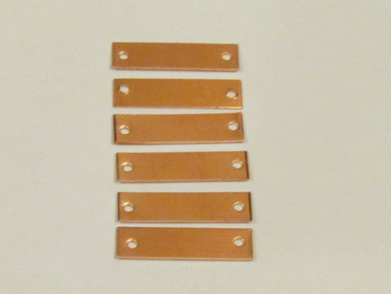 COPPER  w hole Rectangle  Blanks - 1/4 X 1- 24 gauge  - Hand stamping bracelet metal blanks with holes