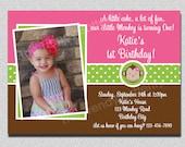 Birthday Invitation Mod Monkey Birthday Party Invitation Pink and Green Girls Invite