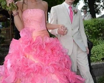 Stunning Pink Wedding Dress Custom Made to your Measurements