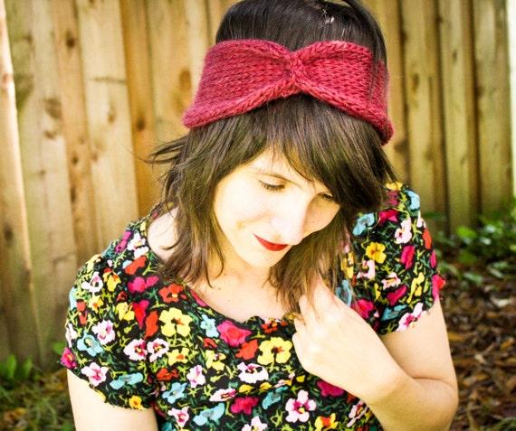 Knit Headband Turban - Cinched Headwrap - Burgundy Red
