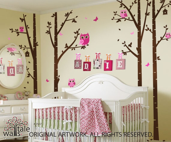 birch tree with owls and butterflies large nursery wall