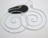 Extra Large Silver Swirl Earrings, Hammered Hand forged Earwires