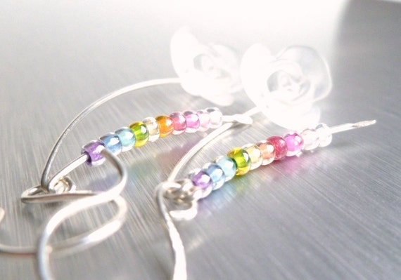 Long Delicate Earrings - thin tendrils of bright Argentium sterling silver - glass rainbow multicolor beads / clear frosted rose flower