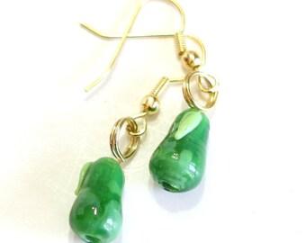 Summer Charm Earrings: Green Pear Lampwork Bead Earring - Girls Fruit Jewelry - Womens Fashion Earrings