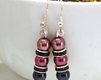 Womens Earrings - Purple Glass Pearl and Black Rhinestone Earrings - Formal Earrings - Womens Jewelry