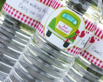 Just Married Water Bottle Labels