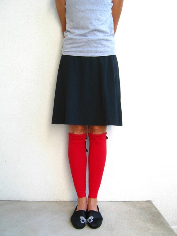 Leg Warmers TShirt Womens Leg Warmers Red Recycled Girls Cotton Leg Warmers Stretch Gift for Her Repurposed Clothes ohzie