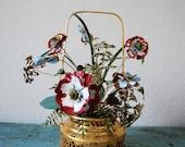 Vintage Mottahedeh Floral Enamel Brass Basket by Jane Hutcheson