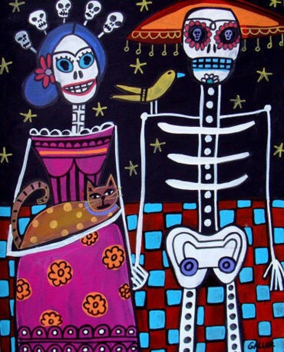 Day of the Dead art   Art Print Poster by Heather Galler Frida Kahlo and Skeleton (HG357)