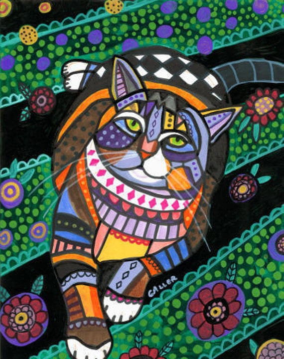 Tabby Cat Folk art  Poster Print of painting by Heather Galler  (HG863)