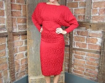 SALE-1980s Red Animal print Dress/ Leopard Print Dress/ Diva Dress