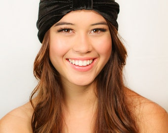 Black Velvet Turban / Black Turban / Velvet Turban / Chemo Hat / Kristin Perry