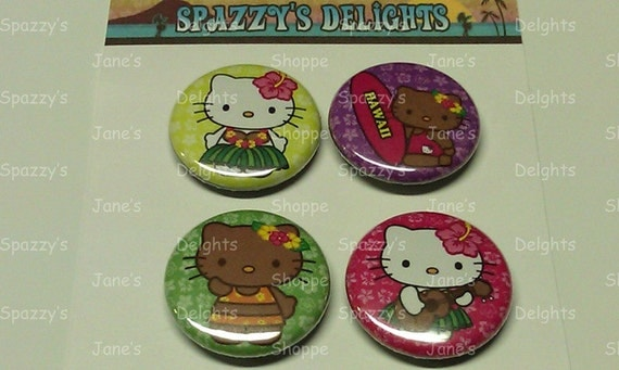Aloha Hawaii Tan & White Kitty Button Magnets. Set of 4.
