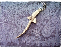Large Shark Necklace - Antique Pewter Shark Charm on a Delicate Silver Plated Cable Chain or Charm Only
