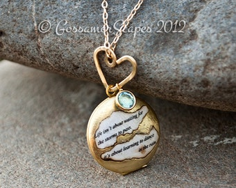 Locket necklace BFF friendship sisters  Dance in the rain quote with birthstone