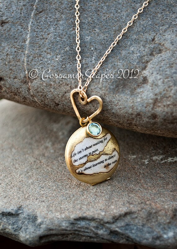 Locket necklace BFF friendship sisters quote with birthstone Life isn't about waiting for the storms to pass
