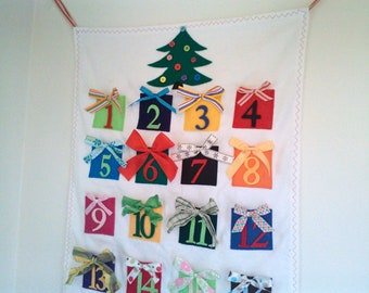 Advent Calendar Little Gifts Whimsical Colorful Fabric Pockets to fill yourself.