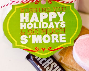 "Christmas PRINTABLE 'Wishing You Happy Holidays and so much S'more"" Gift Tags (INSTANT DOWNLOAD) by Love The Day"