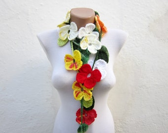 Scarf, Flower crochet Lariat Scarf, Colorful Long Necklace, Spring Accessories, Women Jewelry,  Leaf Scarf ,Red Yellow Green