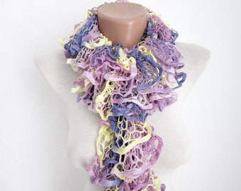Ruffle Scarf, Frilly Scarf, Knitted scarf, Knit Scarf, Salsa