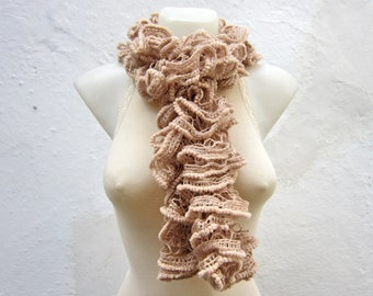 Brown Cream Ruffle Scarf,Knit Lace Scarf,Sashay Frilly Scarf