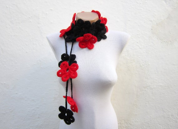 Black Red, Crochet Scarf, Lariat Scarves, Flower Lariat Scarf, Floral Jewelry, Crocheted Accessories, Women Necklace