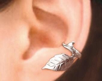 Rose Leaf & Thorn ear cuff Sterling Silver earrings leaf jewelry leaf earrings Sterling silver ear cuff clip Leaf ear cuff men, women C-041