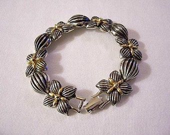 Flower Square Bracelet Silver Gold Tone Vintage Extra Large Wide Deep Ribbed Puffed Oval Links