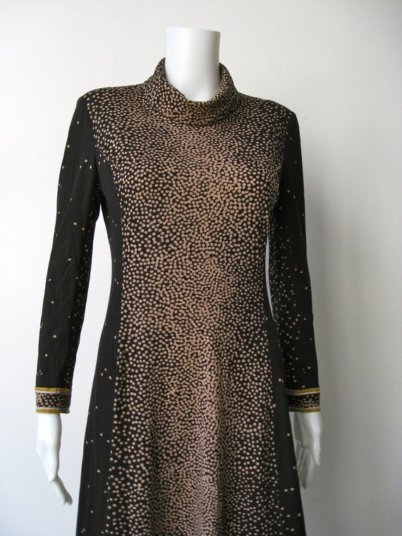 Reserved Incredible Leonard 1960s Black and Camel Wool Mod Dress