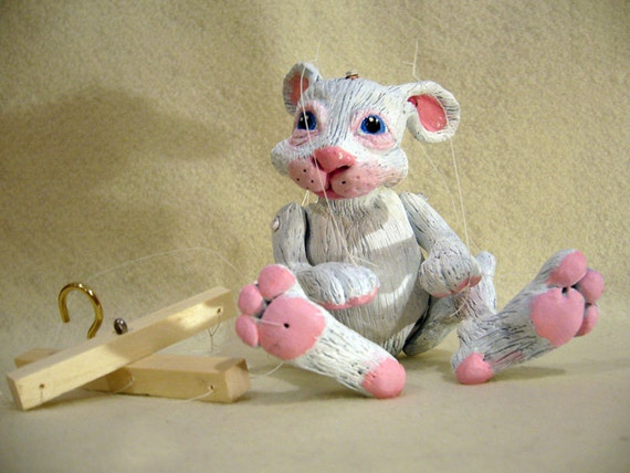 White Rabbit Marionette, (Made-to-order) hand-made, OOAK