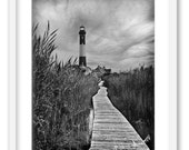 Lighthouse Fire Island. NYC photography. Black and white HDR. 8x10 print.