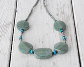 Seafoam Green Jade Necklace, Blue and Green Jewelry, Large Flat Unpolished Natural Handcut Jade, Bohemian Chic Jewelry, Winter 2013