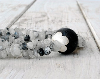 Rutilated Quartz and Lava Stone Necklace, Black White Gemstone Double Strand Statement Necklace, Chunky Santorini Necklace, Quartz Jewelry
