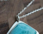 Larimar in Sterling Silver Necklace - Fine Art Jewelry