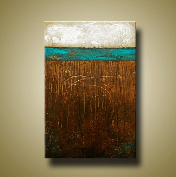 Original Art Abstract Painting with Heavy Texture -- 24 x 36 Acrylic Painting by Britt Hallowell