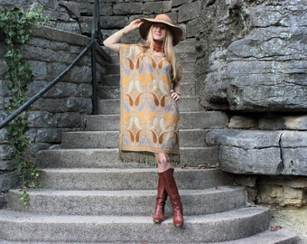 Cashmere & Silk Ethnic Indian Dress Bohemian Kaftan Caftan w Fringe in Gold Hippie Chic One Size Fits All