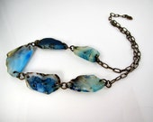 LP 260A  Dyed Blue Sardonyx Agate Slabs And Brass Necklace