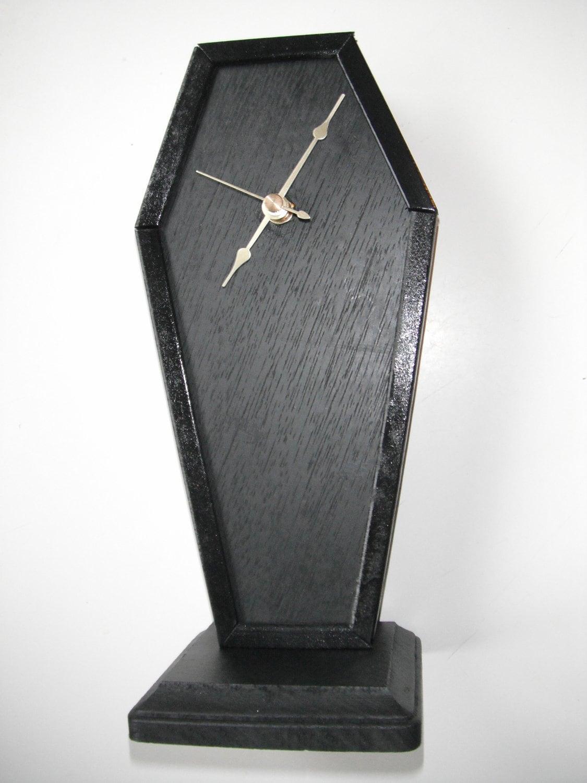 Wooden coffin desk clock