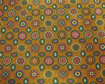 """1960s Vintage Paisley Fabric Cotton Green background Colorful Paisley and Dots 35"""" wide Vintage Fabric"""