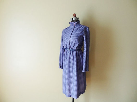 Purple Polka Dot Vintage Womens Dress size Medium M Purple and Navy Blue