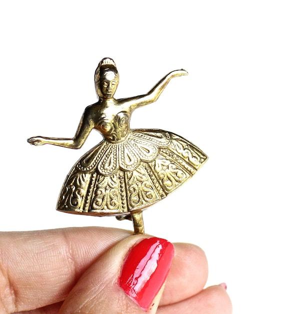 Vintage Ballerina Brooch Pin - Gold Tone Dancer Costume Jewelry / Spanish Grace