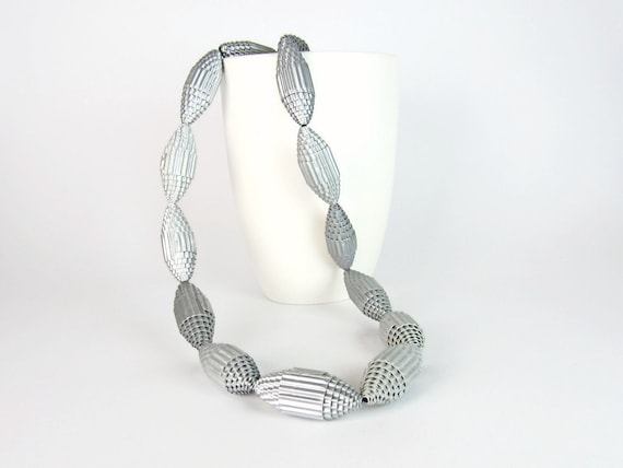 Silver: Statement Necklace FILA with Beads of Corrugated Cardboard