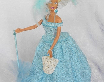 Barbie Doll Crochet Victorian, Bustle Blue Doll Dress-White/Blue  Feathers Doll,Parasol