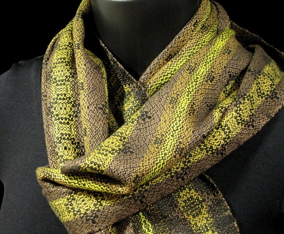 Hand Woven Scarf, Gold Brown Bronze Taupe Black, Handwoven Scarf, Bamboo Soysilk Soy Silk Scarf