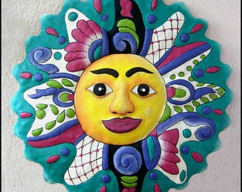 """Decorative Sun Wall Hanging - 24"""" Hand Painted Metal Recycled Haitian Steel Drum Garden Art -  Tropical Home Decor - M-102-TQ-24"""