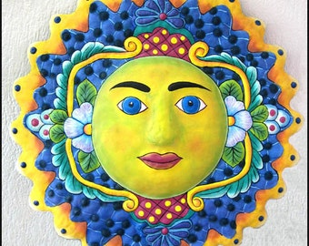 "Painted Metal Sun Wall Hanging - 17"" - Metal Wall Art, Garden Art  - Metal Art, Metal Wall Art, Garden Decor, Tropical Decor -   M-105-BL-17"