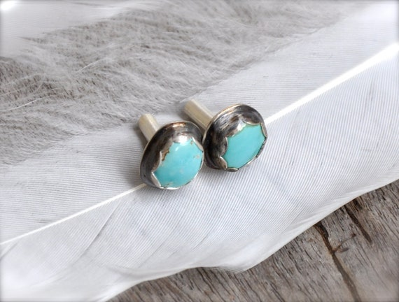 8 Gauge Fox Mine Turquoise and Silver Plugs