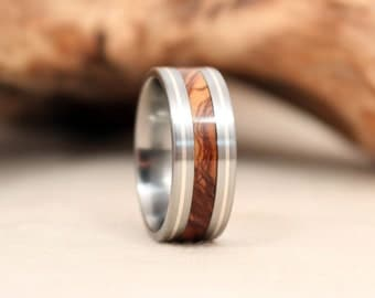 Silver Pinstripe Wooden Ring with Titanium and Bethlehem Olivewood