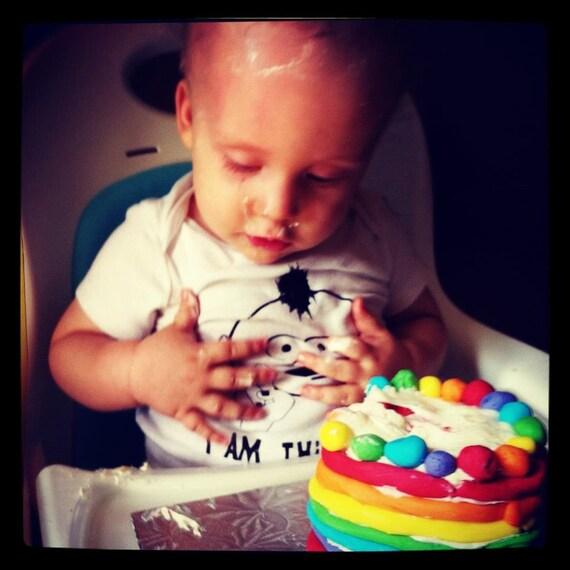 1ST BIRTHDAY 'I am this many'  Punk Rocker Baby Boy with mohawk & piercings --  18 month white gender neutral bodysuit.